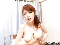oriental bushy nurse tugjob and ejaculation