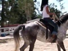 my stripped oriental girlfriend riding horse