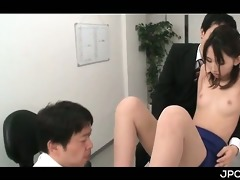 fascinating oriental office angel snatch rubbed