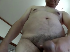 japanese old fellow masturbation semi-erection