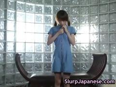 nice-looking legal age teenager jun nada plays