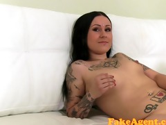 fakeagent miniature brunette with tattoos takes