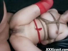 oriental fastened gangbanged and creampied