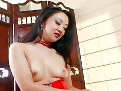 diminutive oriental teases and masturbates in a