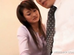 japanese hotty gets full cunt check at the