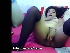 bulky asian wench fucking herself