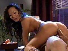 brunette oriental secretary receives her bald