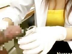 oriental hirsute nurse tugjob and spunk flow