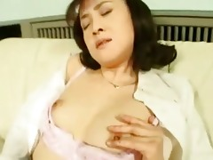 concupiscent oriental wife masturbating in