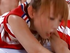 asians in cheerleader outfits engulfing and riding