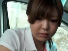 shy schoolgirl used in car